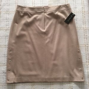 Grace Tan Wool Blend Silver Snap Detailed Skirt 12